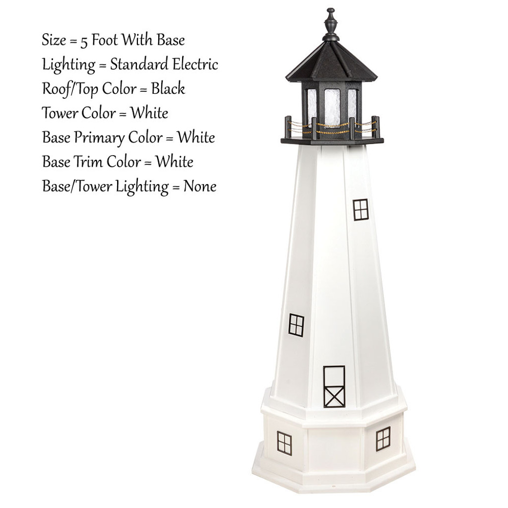 Amish Made Wood Outdoor Lighthouse - Cape Cod - Shown As: 5 Foot With Base, Standard Electric Lighting, Roof/Top Color Black, Tower Color White, Optional Base Primary Color White, Optional Base Trim Color White, No Base/Tower Interior Lighting