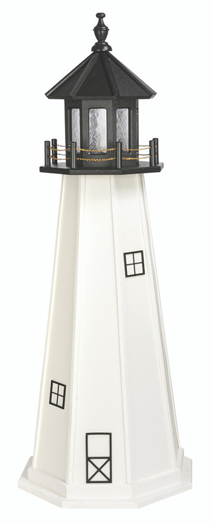 Amish Made Poly Outdoor Lighthouse - Cape Cod - Shown As: 5 Foot, Standard Electric Lighting, Roof/Top Color Black, Tower Color White, Optional Base Primary Color None, Optional Base Trim Color None, No Base/Tower Interior Lighting