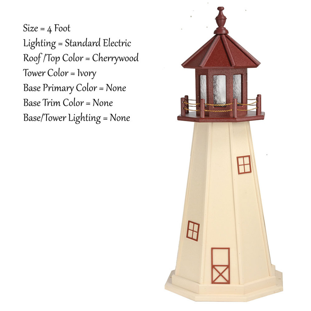 Amish Made Poly Outdoor Lighthouse - Cape May - Shown As: 4 Foot, Standard Electric Lighting, Roof/Top Color: Cherrywood, Tower Color: Ivory, Optional Base Primary Color None, Optional Base Trim Color None, No Base/Tower Interior Lighting