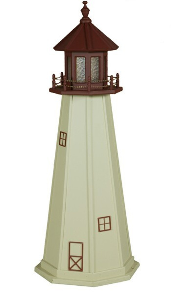 Amish Made Wood Garden Lighthouse - Cape May - Shown As: 5 Foot, Standard Electric Lighting, Roof/Top Color Cherrywood, Tower Color Ivory, Optional Base Primary Color None, Optional Base Trim Color None, No Base/Tower Interior Lighting