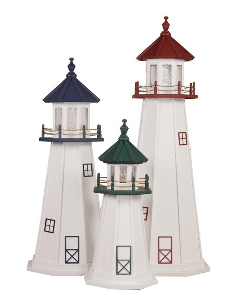 Amish Made Wood Garden Lighthouse - Marblehead Shown In Assorted Colors - 3-5 Foot
