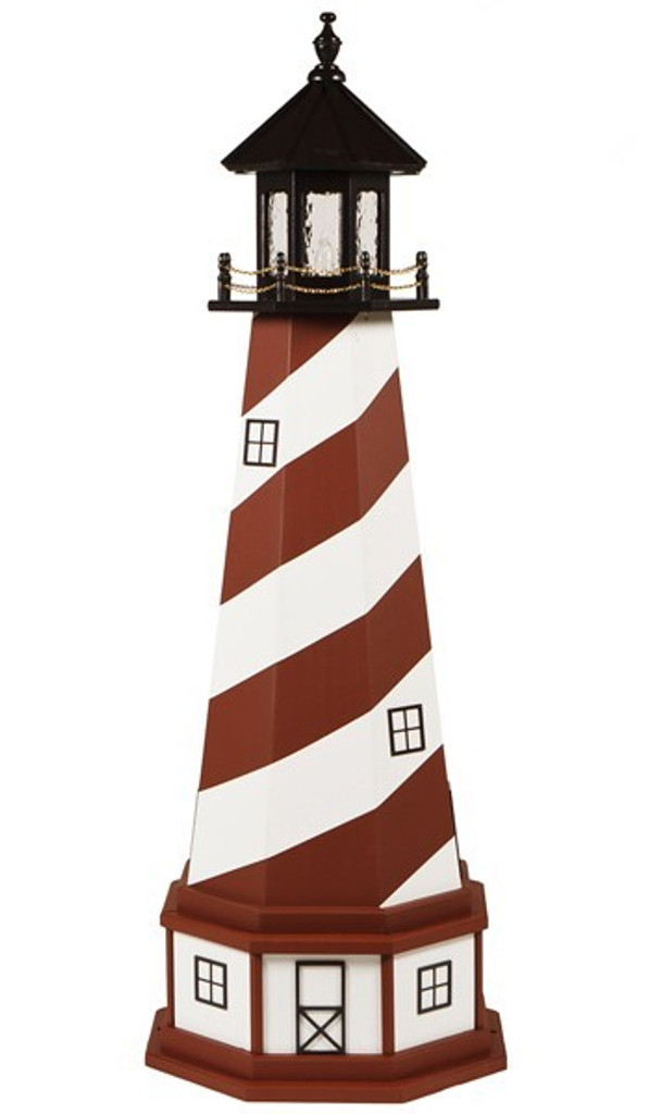 Amish Made Wood Garden Lighthouse - St Augustine - Shown As: 5 Foot With Optional Base, Standard Electric Lighting, Roof/Top Color Black, Tower Primary Color Cardinal Red, Tower Accent/Trim Color White, Optional Base Primary Color White, Optional Base Trim Color Cardinal Red, No Base/Tower Interior Lighting