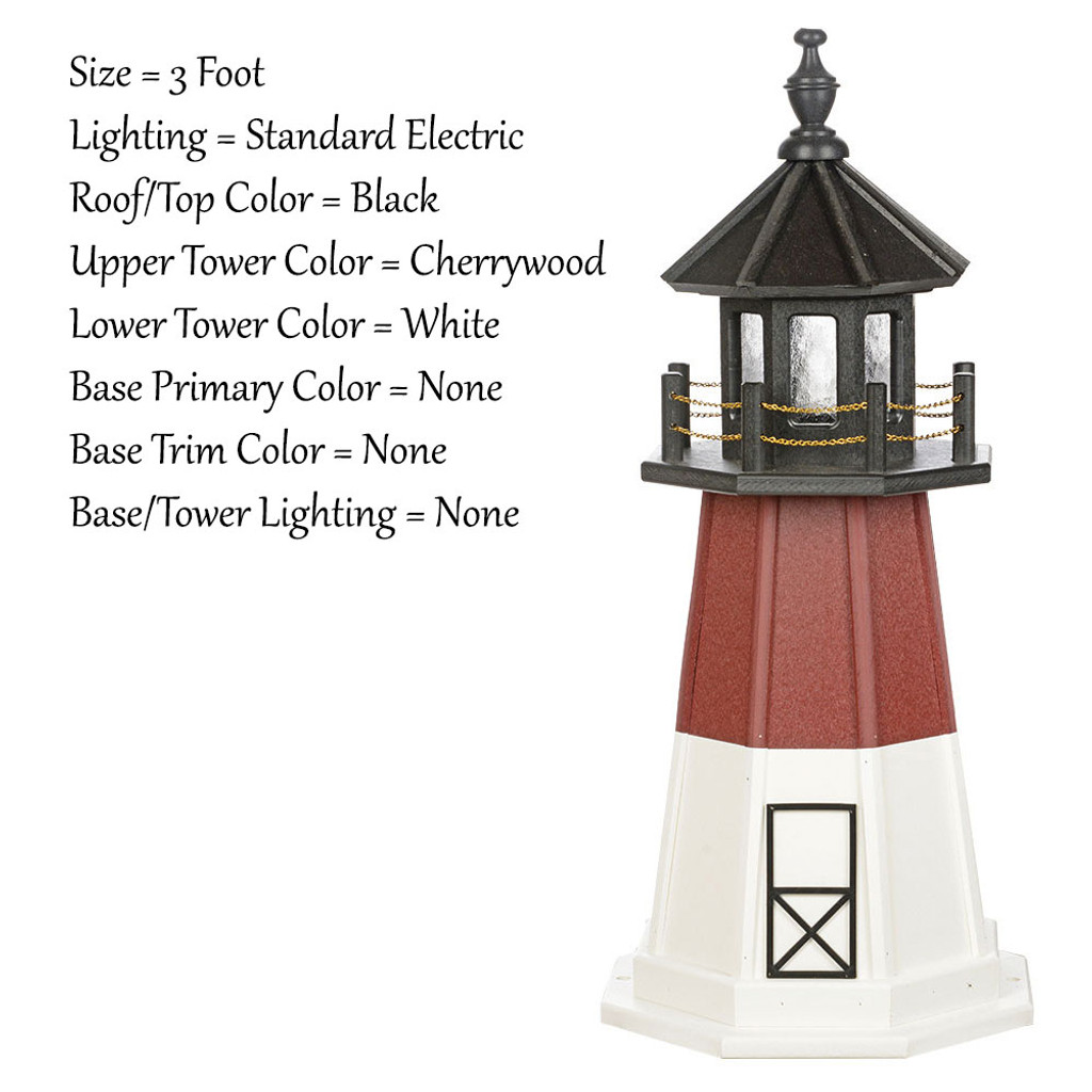 Amish Made Wood Garden Lighthouse - Barnegat - Shown As: 3 Foot, Standard Electric Lighting, Roof/Top Color Black, Upper Tower Color Cherrywood, Lower Tower Color White, Optional Base Primary Color None, Optional Base Trim Color None, No Base/Tower Interior Lighting