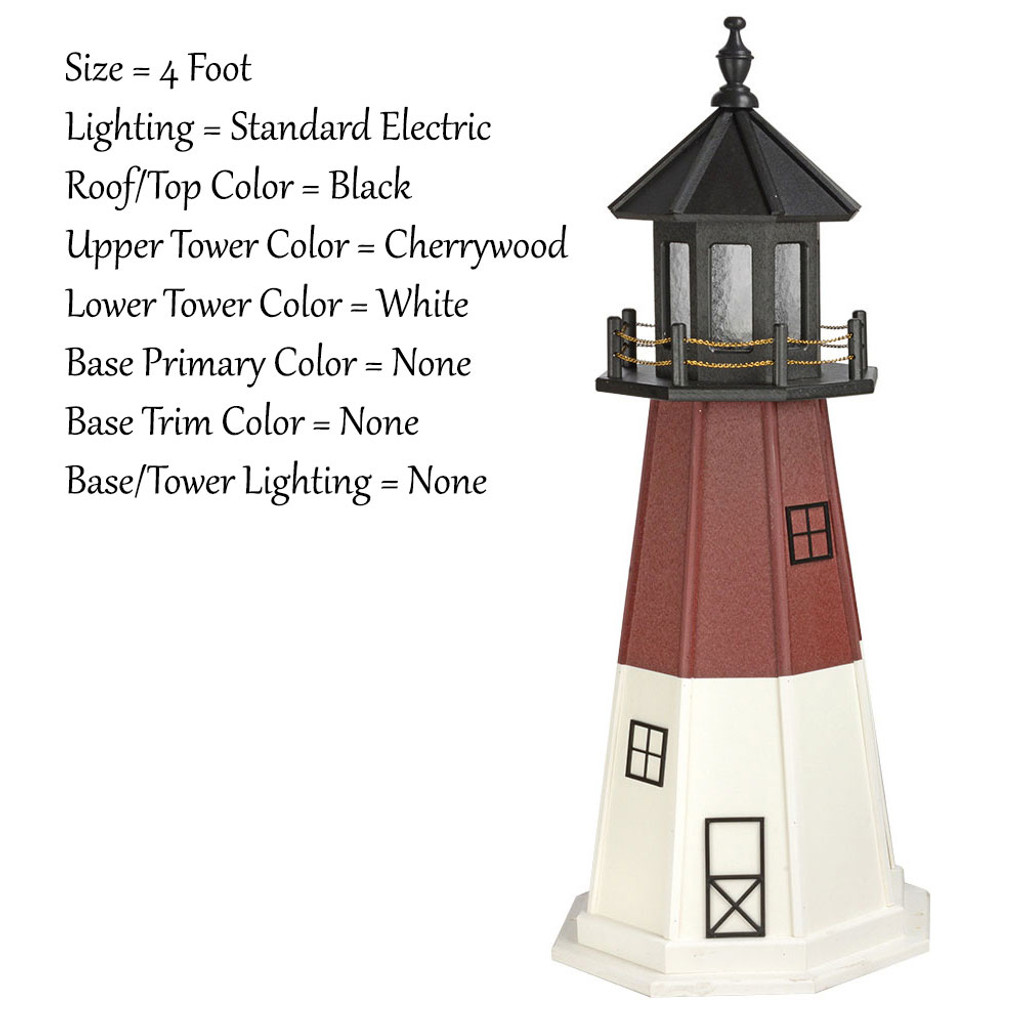 Amish Made Wood Garden Lighthouse - Barnegat - Shown As: 4 Foot, Standard Electric Lighting, Roof/Top Color Black, Upper Tower Color Cherrywood, Lower Tower Color White, Optional Base Primary Color None, Optional Base Trim Color None, No Base/Tower Interior Lighting