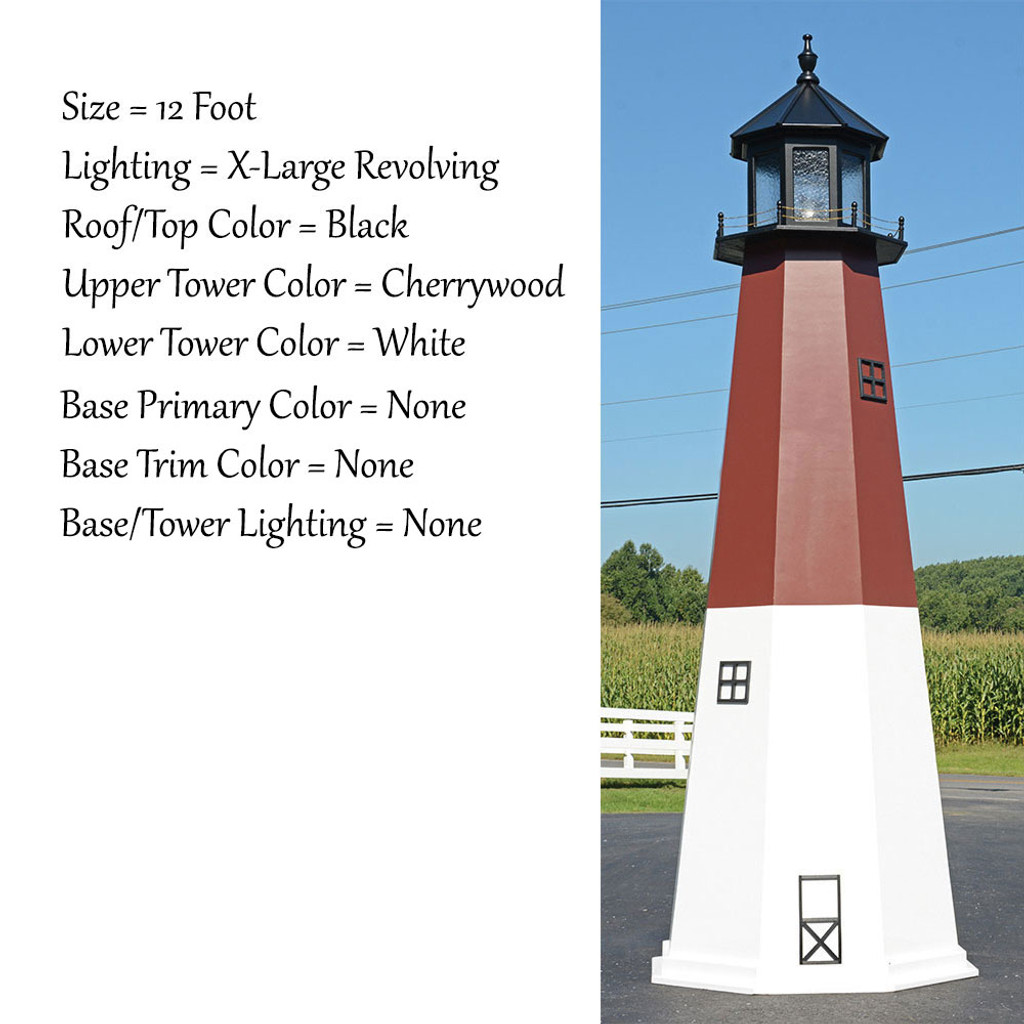 Amish Made Wood Garden Lighthouse - Barnegat - Shown As: 12 Foot, Standard Electric Lighting, Roof/Top Color Black, Upper Tower Color Cherrywood, Lower Tower Color White, Optional Base Primary Color None, Optional Base Trim Color None, No Base/Tower Interior Lighting