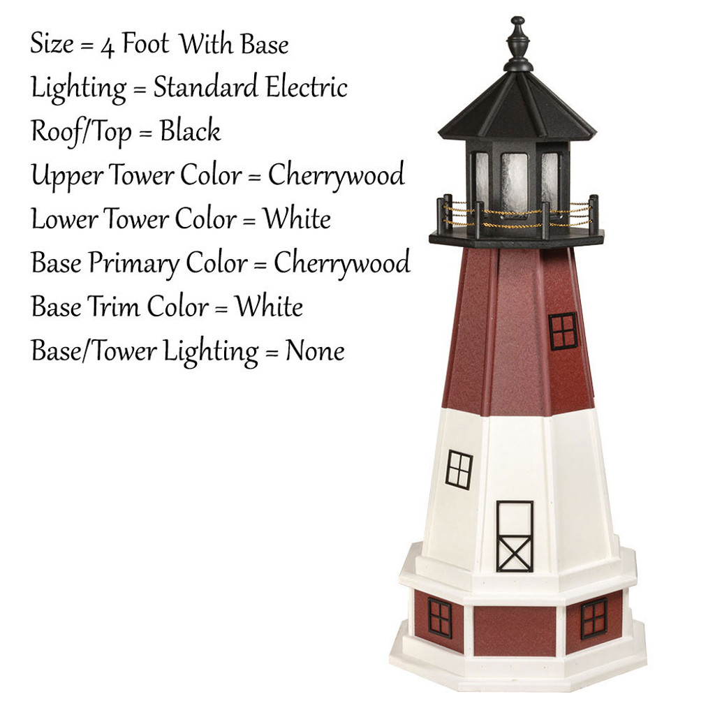 Amish Made Wood Garden Lighthouse - Barnegat - Shown As: 4 Foot With Optional Base, Standard Electric Lighting, Roof/Top Color Black, Upper Tower Color Cherrywood, Lower Tower Color White, Optional Base Primary Color Red, Optional Base Trim Color White, No Base/Tower Interior Lighting
