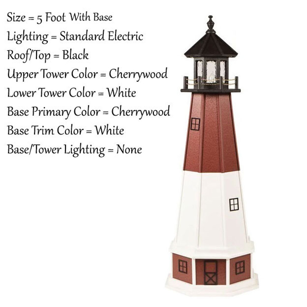 Amish Made Wood Garden Lighthouse - Barnegat - Shown As: 5 Foot With Optional Base, Standard Electric Lighting, Roof/Top Color Black, Upper Tower Color Cherrywood, Lower Tower Color White, Optional Base Primary Color Red, Optional Base Trim Color White, No Base/Tower Interior Lighting