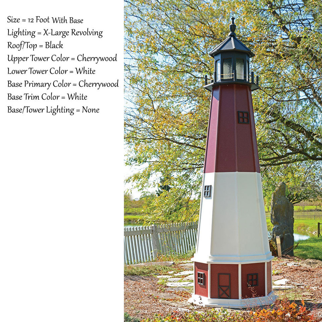 Amish Made Wood Garden Lighthouse - Barnegat - Shown As: 12 Foot With Optional Base, Standard Electric Lighting, Roof/Top Color Black, Upper Tower Color Cherrywood, Lower Tower Color White, Optional Base Primary Color Red, Optional Base Trim Color White, No Base/Tower Interior Lighting