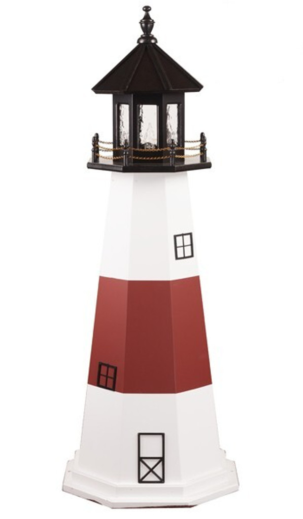 Amish Made Wood Garden Lighthouse - Montauk - Shown As: 5 Foot, Standard Electric Lighting, Roof/Top Color Black, Tower Upper & Lower Stripe Color White, Tower Middle Stripe Color Cherrywood, Optional Base Primary Color None, Optional Base Trim Color None, No Base/Tower Interior Lighting