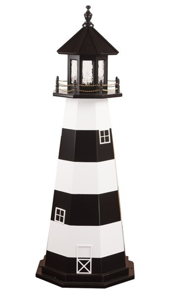 Amish Made Wooden Garden Lighthouse - Cape Canaveral - Shown As: 5 Foot, Standard Electrical Lighting, Roof & Tower Primary Color Black, Tower Accent/Trim Color White. Optional Base Primary Color None, Optional Base Trim Color None, No Base/Tower Interior Lighting