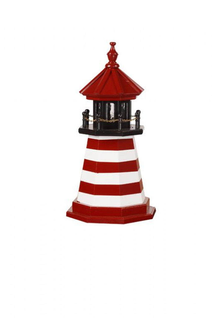 Amish Made Wood Garden Lighthouse – West Quoddy - Shown As: 2 Foot, Standard Electric Lighting, Deck & Top Color: Black, Roof & Tower Primary Stripes Color: Cardinal Red, Tower Accent Stripes Color: White, Optional Base Primary Color None, Optional Base Trim Color None, No Base/Tower Interior Lighting