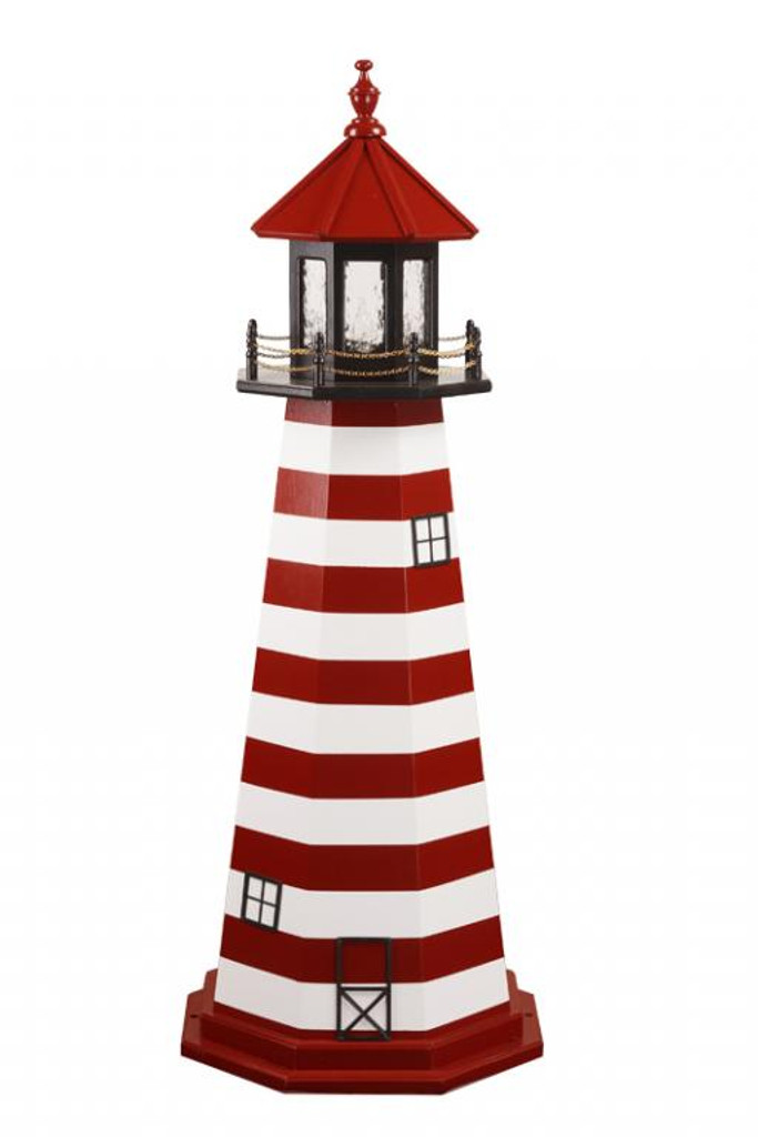 Amish Made Wood Garden Lighthouse – West Quoddy - Shown As: 5 Foot, Standard Electric Lighting, Deck & Top Color: Black, Roof & Tower Primary Stripes Color: Cardinal Red, Tower Accent Stripes Color: White, Optional Base Primary Color None, Optional Base Trim Color None, No Base/Tower Interior Lighting