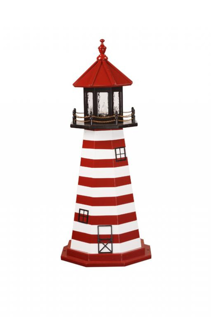 Amish Made Wood Garden Lighthouse – West Quoddy - Shown As: 4 Foot, Standard Electric Lighting, Deck & Top Color: Black, Roof & Tower Primary Stripes Color: Cardinal Red, Tower Accent Stripes Color: White, Optional Base Primary Color None, Optional Base Trim Color None, No Base/Tower Interior Lighting
