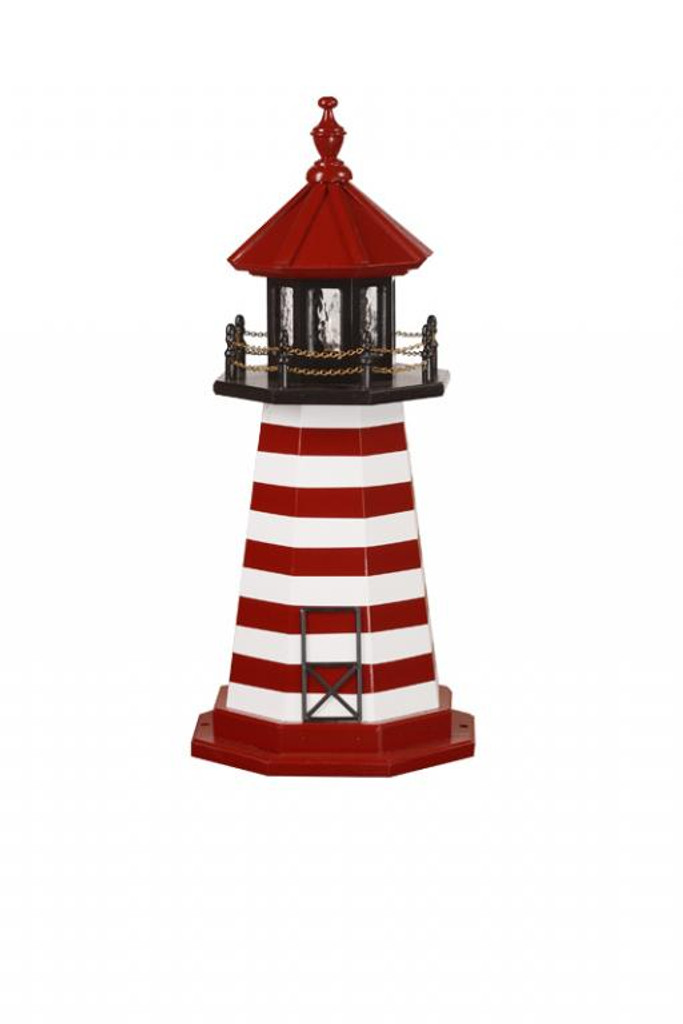 Amish Made Wood Garden Lighthouse – West Quoddy - Shown As: 3 Foot, Standard Electric Lighting, Deck & Top Color: Black, Roof & Tower Primary Stripes Color: Cardinal Red, Tower Accent Stripes Color: White, Optional Base Primary Color None, Optional Base Trim Color None, No Base/Tower Interior Lighting