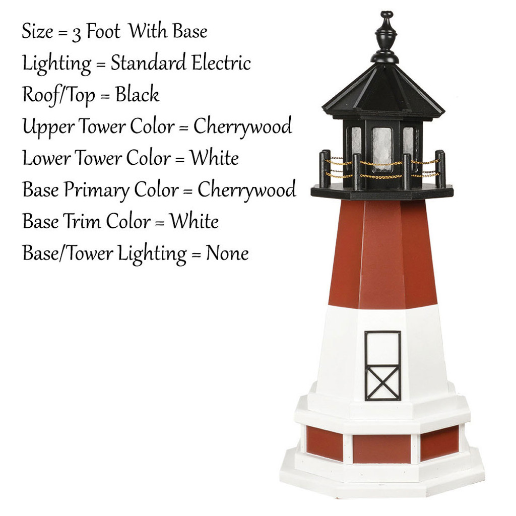 Amish Made Poly Outdoor Lighthouse - Barnegat - Shown As: 3 Foot With Base, Standard Electric Lighting, Roof/Top Color Black, Upper Tower Color Cherrywood, Lower Tower Color White, Optional Base Primary Color Cherrywood, Optional Base Trim Color White, No Base/Tower Interior Lighting