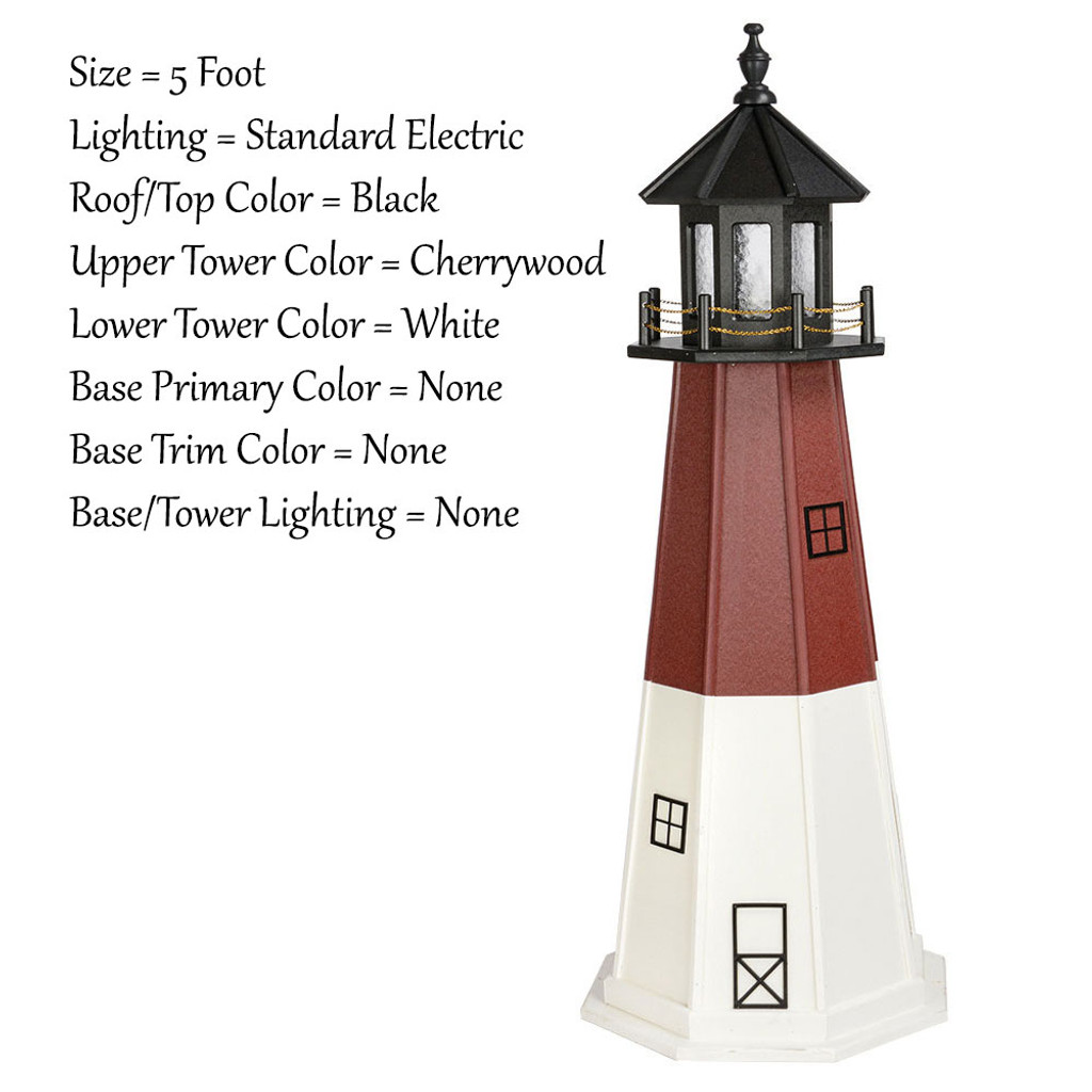 Amish Made Poly Outdoor Lighthouse - Barnegat - Shown As: 5 Foot, Standard Electric Lighting, Roof/Top Color Black, Upper Tower Color Cherrywood, Lower Tower Color White, Optional Base Primary Color None, Optional Base Trim Color None, No Base/Tower Interior Lighting