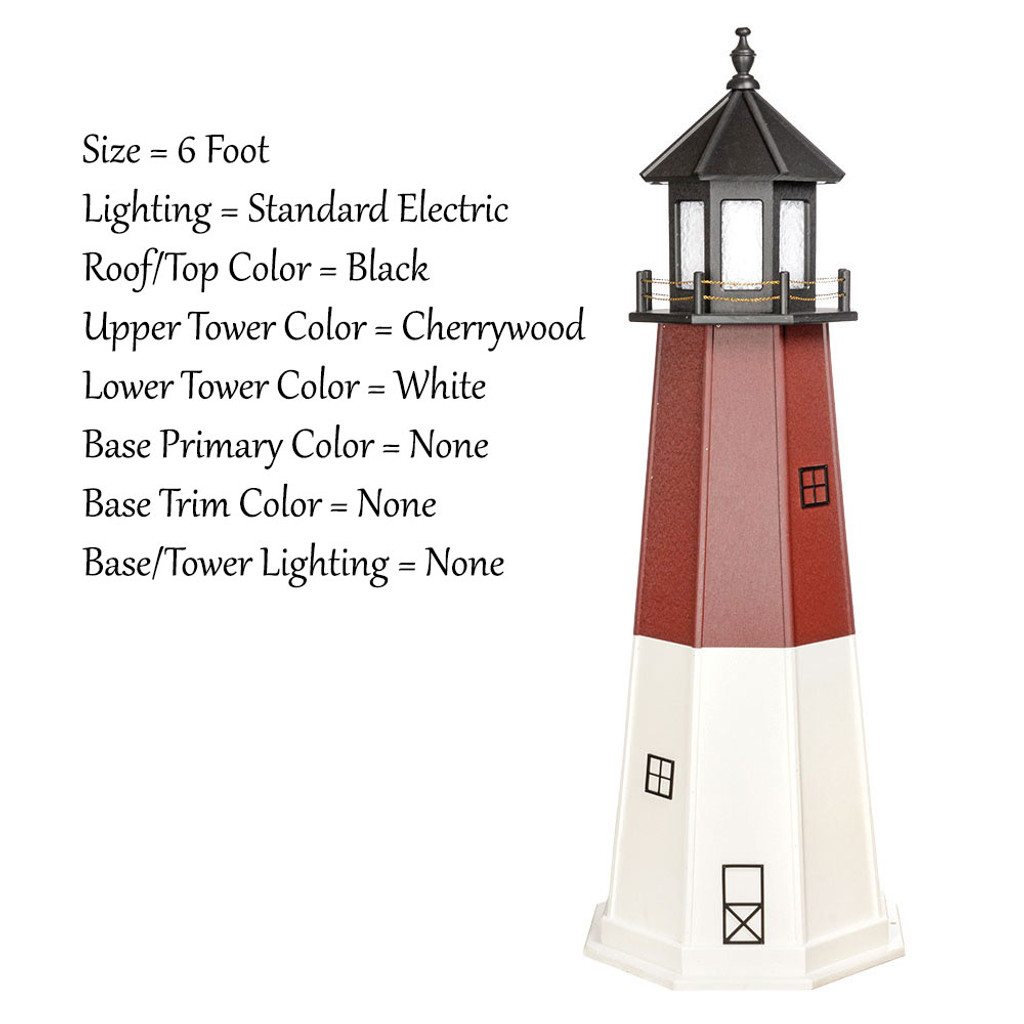 Amish Made Poly Outdoor Lighthouse - Barnegat - Shown As: 6 Foot, Standard Electric Lighting, Roof/Top Color Black, Upper Tower Color Cherrywood, Lower Tower Color White, Optional Base Primary Color None, Optional Base Trim Color None, No Base/Tower Interior Lighting