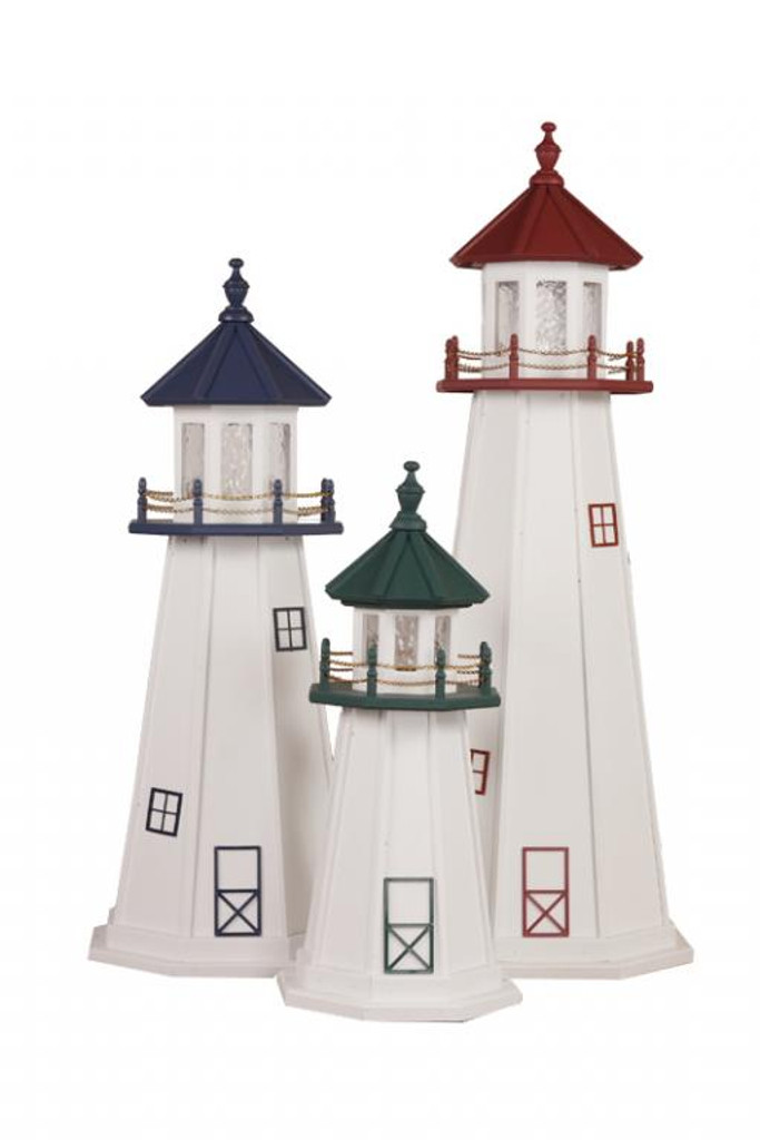 Amish Made Poly Outdoor Lighthouse - Marblehead Shown In Assorted Colors - 3-5 Foot