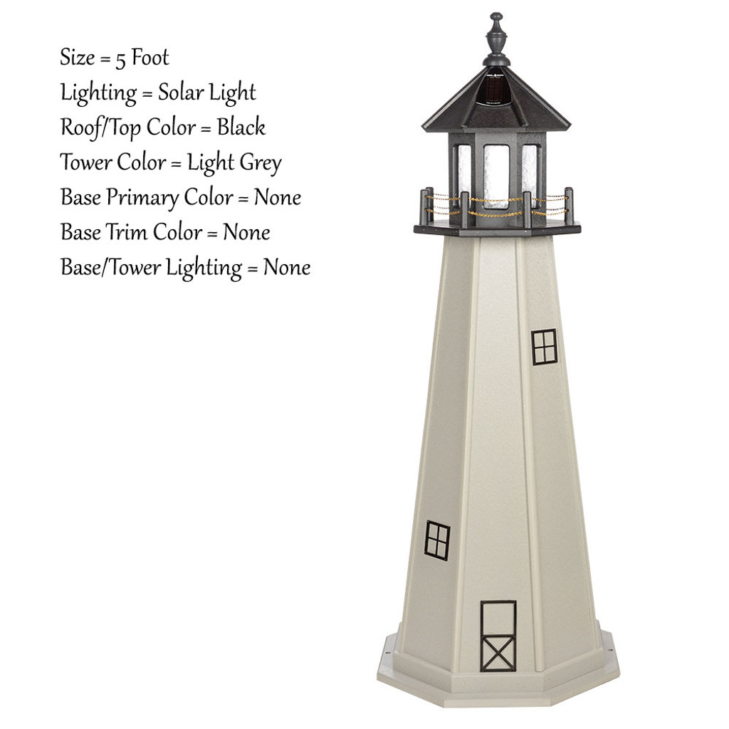 Amish Made Poly Outdoor Lighthouse - Cape Cod - Shown As: 5 Foot, Solar Lighting, Roof/Top Color Black, Tower Color Light Gray, Optional Base Primary Color None, Optional Base Trim Color None, No Base/Tower Interior Lighting