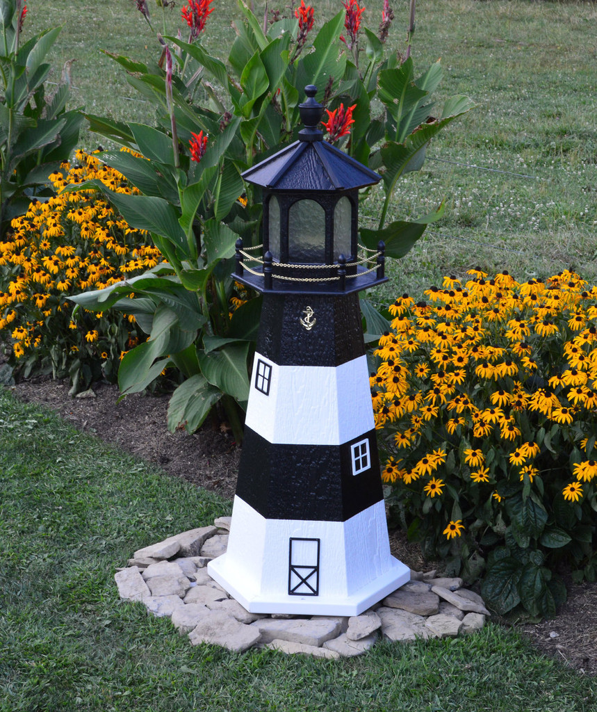 Amish Made Wood Garden Lighthouse - Fire Island - Shown In 4 Foot Model With Standard Electric Lighting
