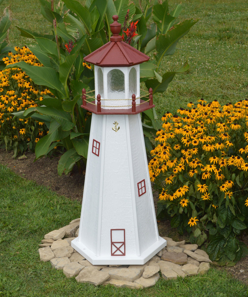 Amish Made Wood Garden Lighthouse - Marblehead - Shown In 4 Foot Model With Standard Electric Lighting