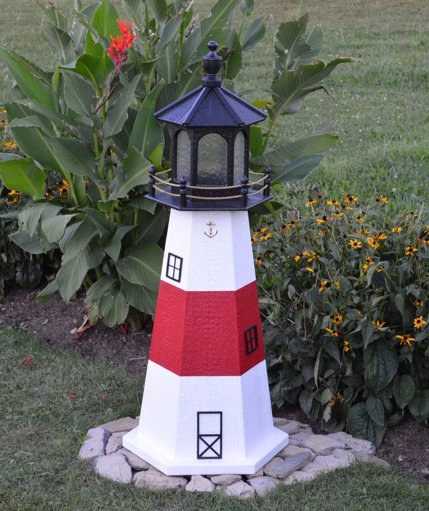 Amish Made Wood Garden Lighthouse - Montauk - Shown In 4 Foot Model With Standard Electric Lighting