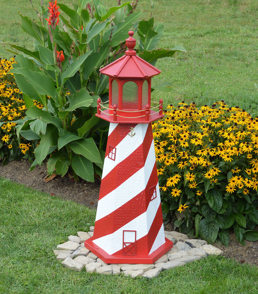 Amish Made Wood Garden Lighthouse - White Shoals - Shown In 4 Foot Model With Standard Electric Lighting