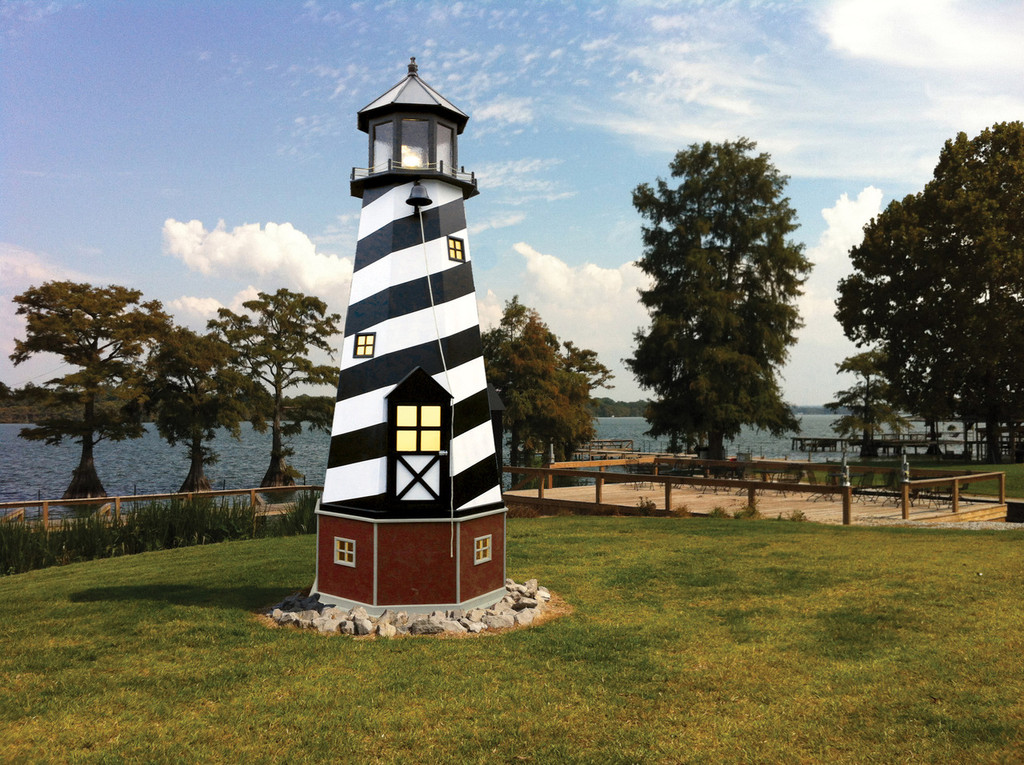 Amish Made 17 Foot Poly/Wood Hybrid Lighthouse -  Shown As: Cape Hatteras Style, X-Large Electric Revolving Light, Roof/Top Color: Black, Tower Primary Color: Black, Tower Accent/Trim Color: White. Base Primary Color: Cherrywood, Optional Base Trim Color: Light Gray.