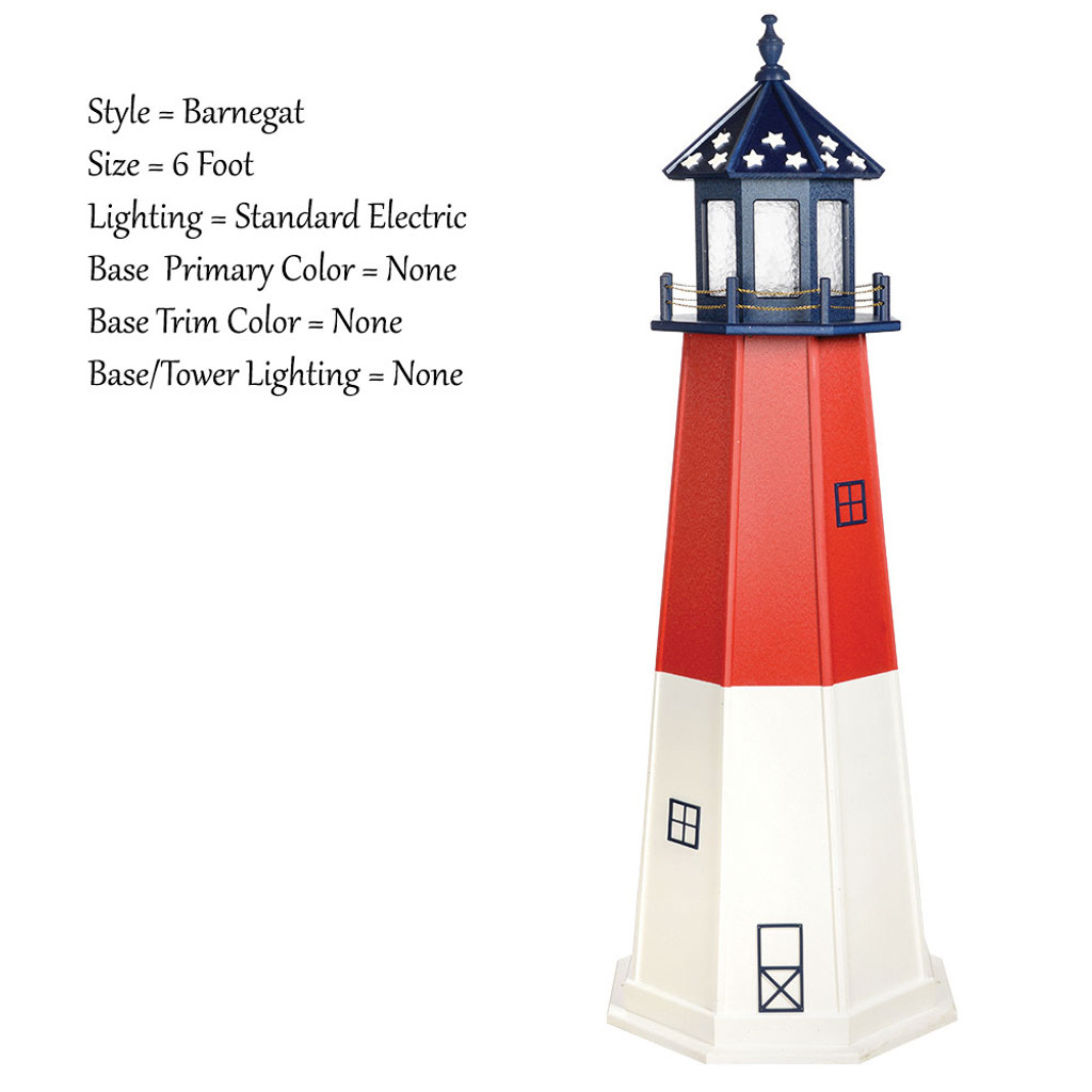 Amish Made Poly Outdoor Lighthouse - Patriotic - Shown As: Patriotic Barnegat, 6 Foot, Standard Electric Lighting, Optional Base Primary Color None, Optional Base Trim Color None, No Base/Tower Interior Lighting