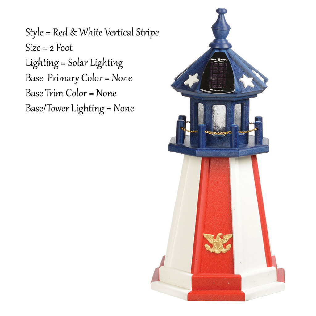 Amish Made Poly Outdoor Lighthouse - Patriotic - Shown As: Patriotic Red & White Vertical Stripe Tower With Blue Top, 2 Foot, Solar Lighting, Optional Base Primary Color None, Optional Base Trim Color None, No Base/Tower Interior Lighting