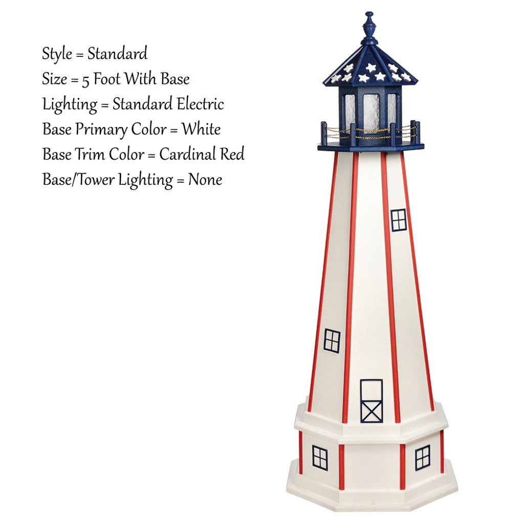 amish made poly outdoor lighthouse patriotic model amish garden lighthouse patriotic standard 5 base 40647 amish - Amish Lighthouse Plans