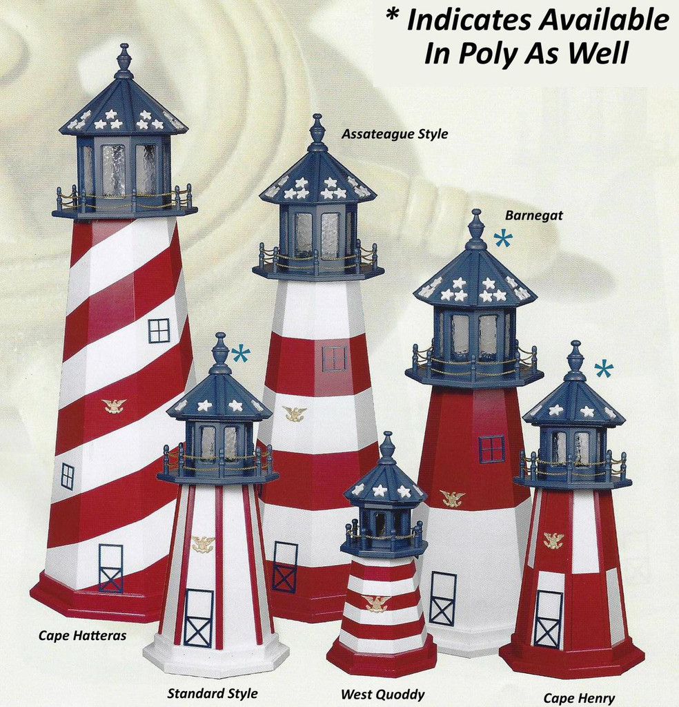 Amish Made Poly Outdoor Lighthouse - Patriotic - Shown As: Assorted Styles, 2-6 Foot, Standard Electric Lighting, Optional Base Primary Color None, Optional Base Trim Color None, No Base/Tower Interior Lighting. Please Note: Only Barnegat, Cape Henry, & Standard Style Are Available In Poly.