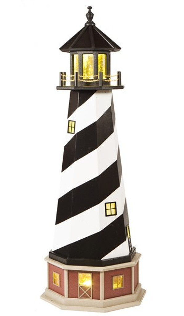 Amish Made Wood-Poly Hybrid Lighthouse - Cape Hatteras - Shown As: 5 Foot, Standard Electric Lighting, Poly Roof/Top Color: Black, Wood Tower Primary Color: Black, Wood Tower Accent Color: White, Poly Base Primary Color: Cherrywood, Poly Base Trim Color: Weatherwood, With Optional Base & Lower Tower Windows Cut Out With Electric Interior Lighting.