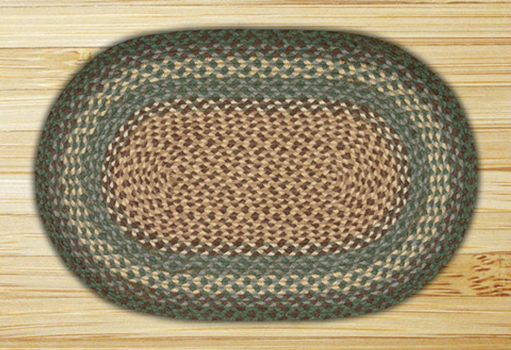 Earth Rugs™ oval braided jute rug in pictured in: Dark Green - C-13