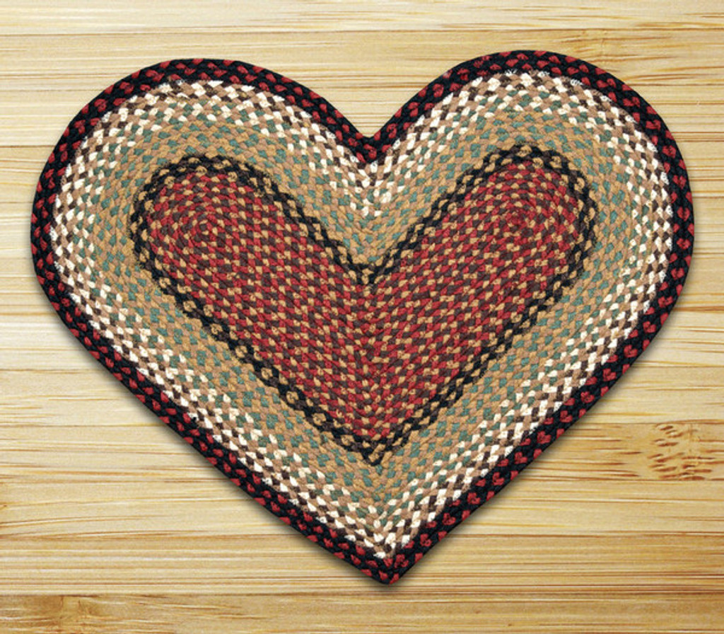 Earth Rugs™ heart braided jute rug in pictured in: Burgundy/Mustard - C-19