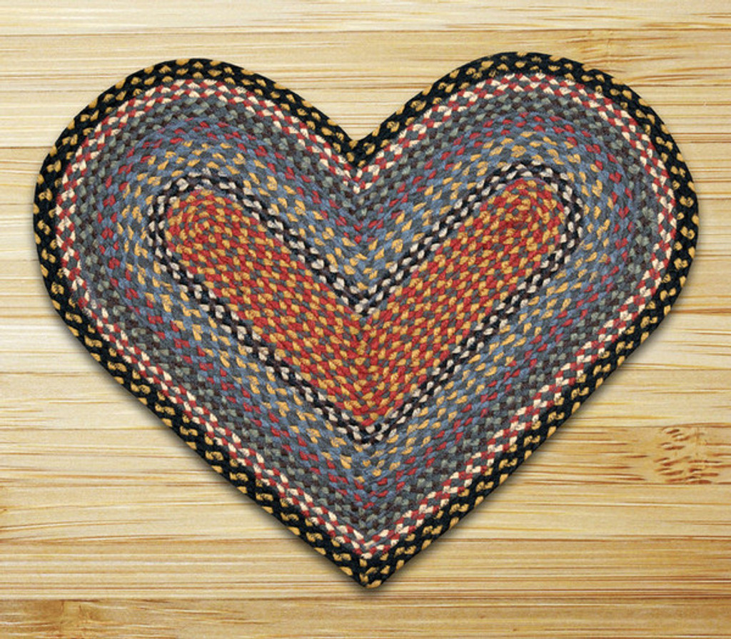Earth Rugs™ heart braided jute rug in pictured in: Burgundy/Blue/Gray - C-43