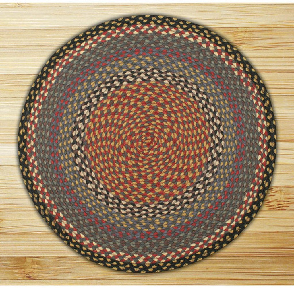 Earth Rugs™ round braided jute rug in pictured in: Burgundy/Blue/Gray - C-43