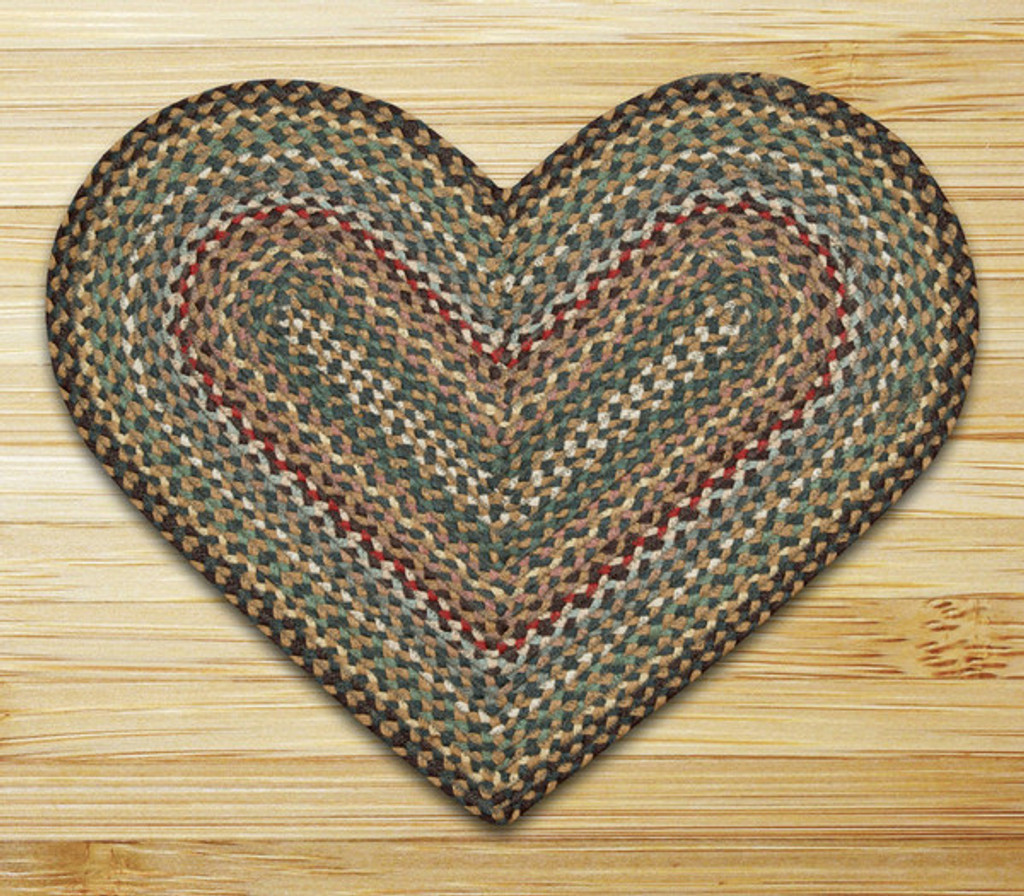 Earth Rugs™ heart braided jute rug in pictured in: Fir/Ivory - C-51
