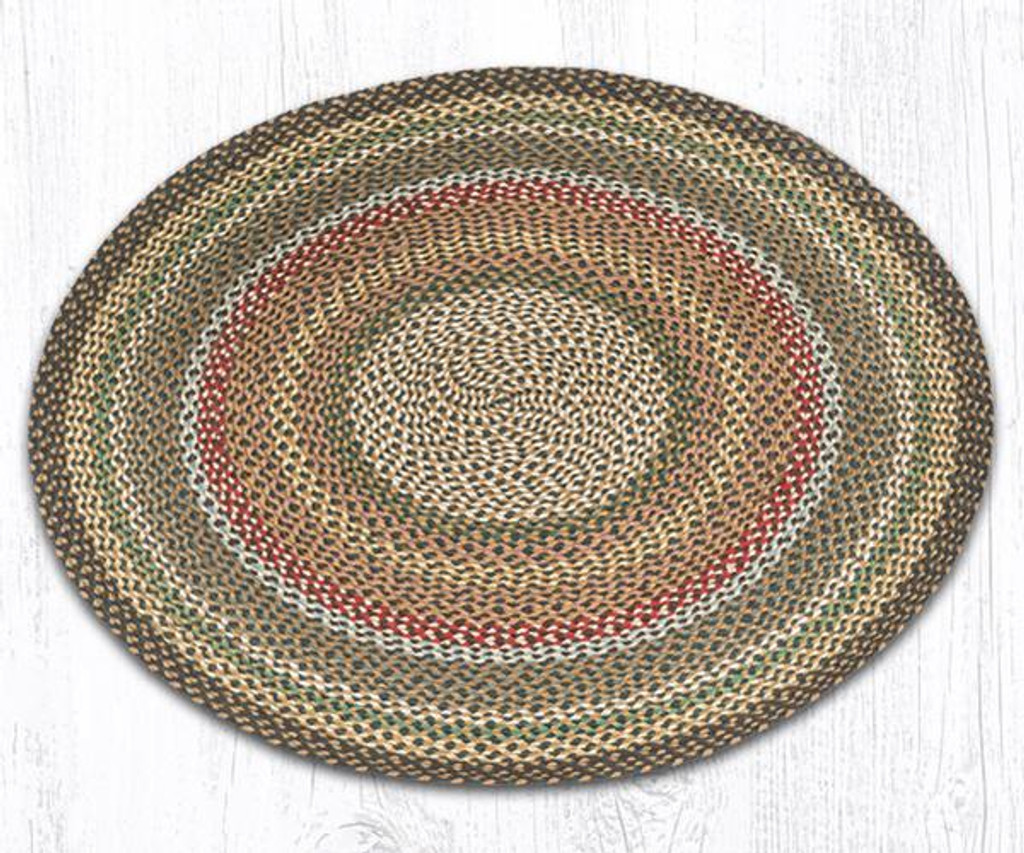 Earth Rugs™ round braided jute rug in pictured in: Fir/Ivory - C-51