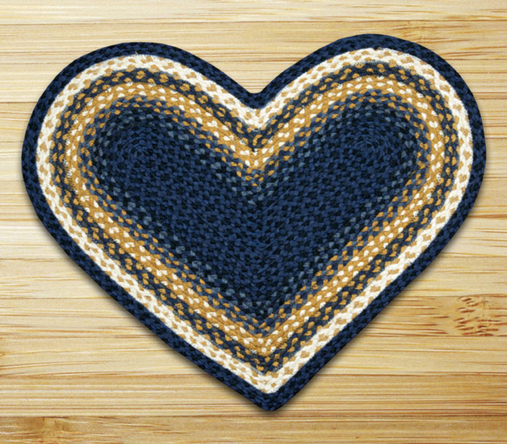 Earth Rugs™ heart braided jute rug in pictured in: Light & Dark Blue/Mustard - C-79