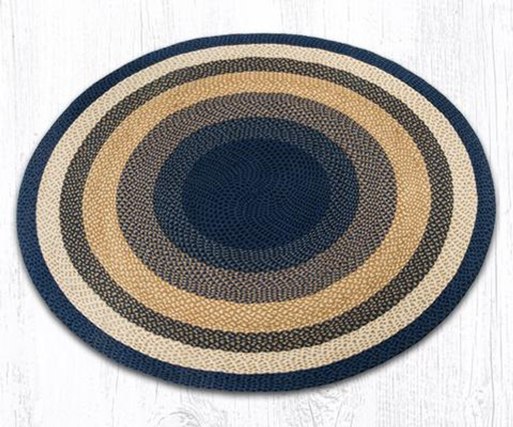 Earth Rugs™ round braided jute rug in pictured in: Light & Dark Blue/Mustard - C-79