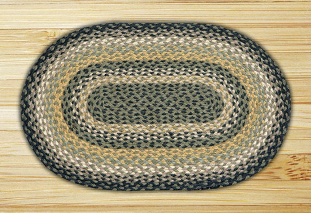 Earth Rugs™ oval braided jute rug in pictured in: Black/Mustard/Cream - C-116