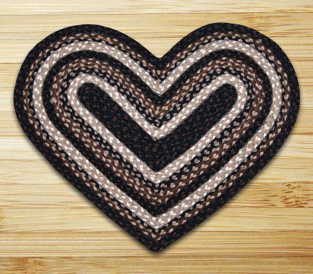 Earth Rugs™ heart braided jute rug in pictured in: Mocha/Frappuccino - C-313
