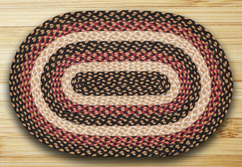 Earth Rugs™ oval braided jute rug in pictured in: Burgundy/Black/Dijon - C-774