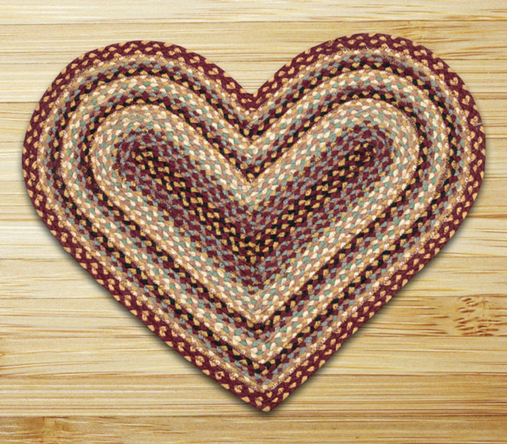 Earth Rugs™ heart braided jute rug in pictured in: Burgundy/Gray/Cream - C-357