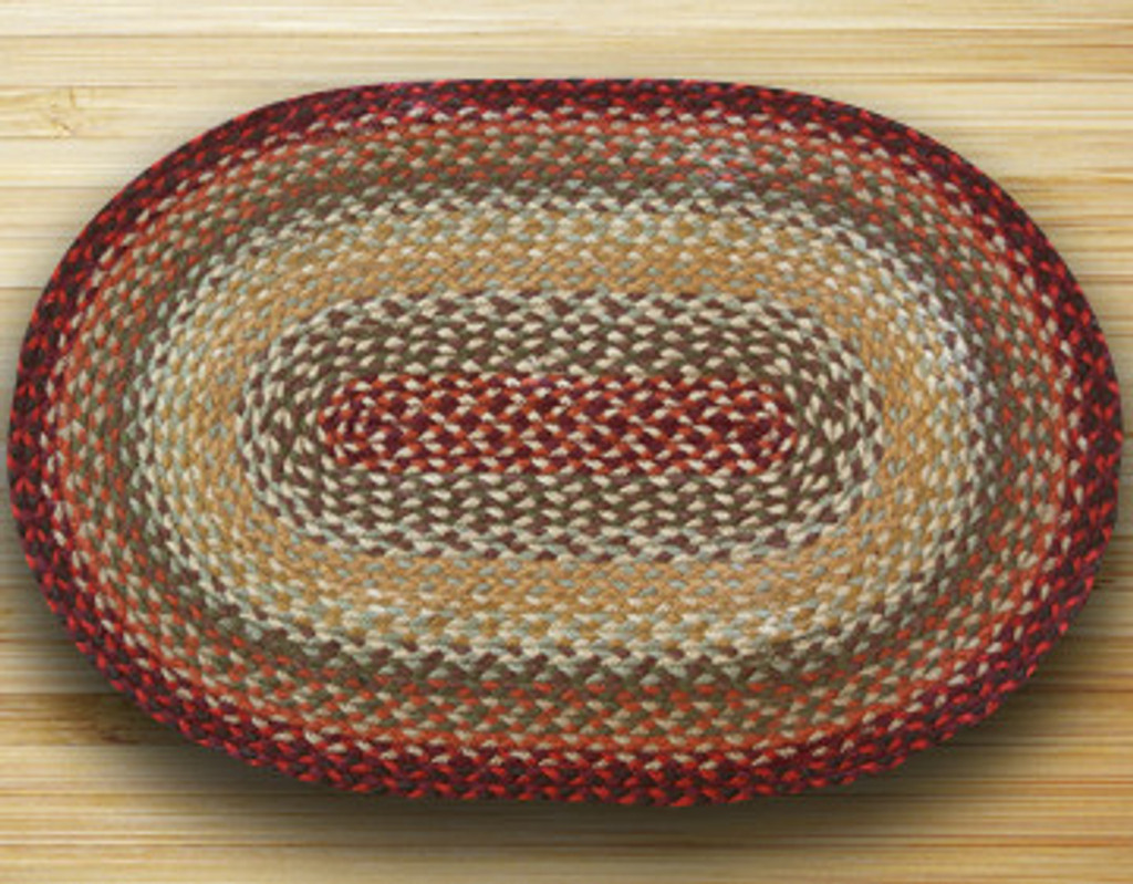 Earth Rugs™ oval braided jute rug in pictured in: Thistle Green & Country Red - C-417