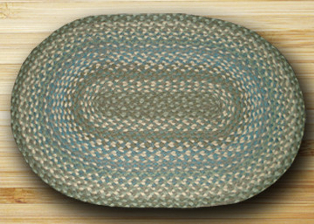 Earth Rugs™ oval braided jute rug in pictured in: Sage, Ivory, Settlers Blue - C-419
