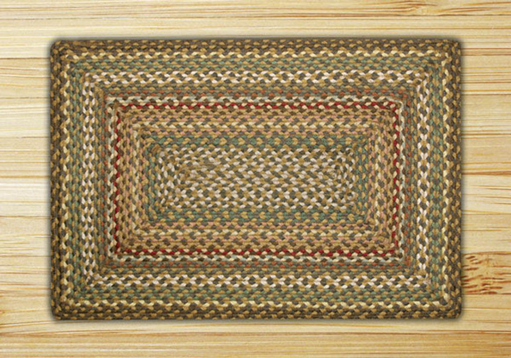 Earth Rugs™ Rectangle Braided Jute Rug Pictured In: Fir, & Ivory
