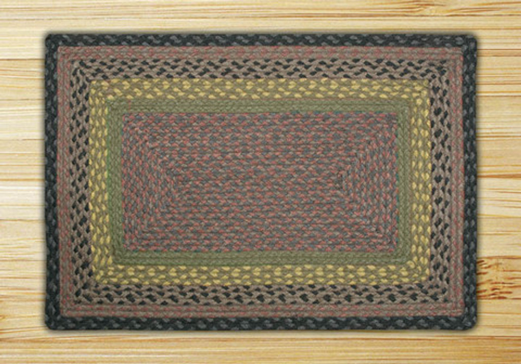 Earth Rugs™ Rectangle Braided Jute Rug Pictured In: Brown, Black, & Charcoal