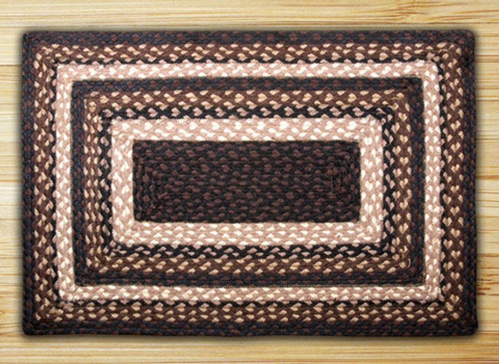 Earth Rugs™ Rectangle Braided Jute Rug Pictured In: Mocha, Frappuccino
